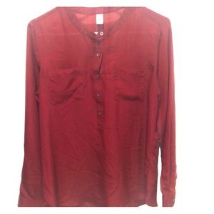 Old Navy Long sleeve half button wine colored top